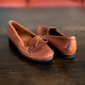 Vintage Brown Leather Penny Loafers Moccasins